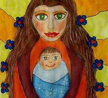 Mother and Child Naive Mixed Media Art by janetgiessl