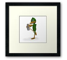 Duck with film Framed Print