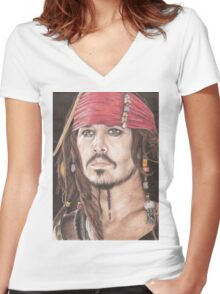Captain Jack Sparrow Women's Fitted V-Neck T-Shirt