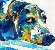 Colorful Beagle Dog Art by Sharon Cummings by Sharon Cummings
