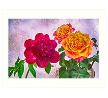 HDR Red Charm Peony And Orange Roses Art Print
