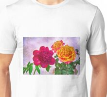 HDR Red Charm Peony And Orange Roses Unisex T-Shirt