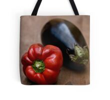Red Bell Pepper and Eggplant Tote Bag