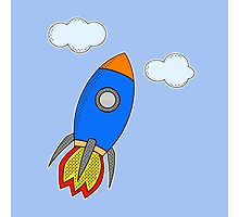 Cartoon Rocket Photographic Print