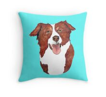 Red Border Collie Portrait Throw Pillow