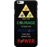 Legend of Zelda Triforce with Goddess Symbols (white text for dark tops/hoodies) iPhone Case/Skin