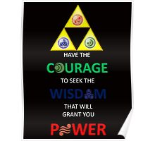 Legend of Zelda Triforce with Goddess Symbols (white text for dark tops/hoodies) Poster