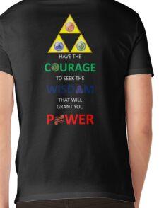 Legend of Zelda Triforce with Goddess Symbols (white text for dark tops/hoodies) Mens V-Neck T-Shirt