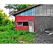 Garage by the Railroad Photographic Print