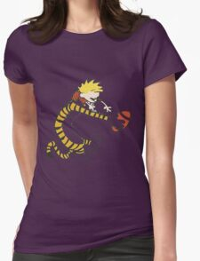calvin and hobbes football Womens Fitted T-Shirt