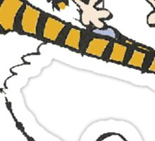 calvin and hobbes football Sticker