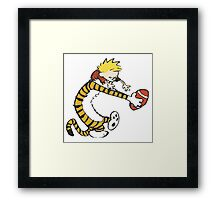 calvin and hobbes football Framed Print