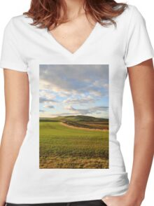 Northumbria Countryside. Women's Fitted V-Neck T-Shirt
