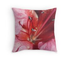 Azalea, pale pink & red Throw Pillow