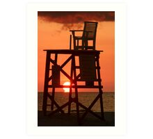 Empty Lifeguard chair at sunset Art Print
