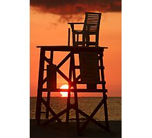 Empty Lifeguard chair at sunset Photographic Print