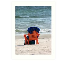 Beach chair and towel Art Print