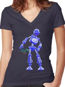 Pesky Critters .. a robots tale Women's Fitted V-Neck T-Shirt
