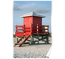 Red Lifeguard Shack Poster