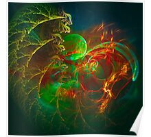 Green Pear - Colorful Digital Abstract Art  Poster