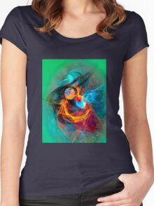 Hummingbird- Colorful Digital Abstract Art  Women's Fitted Scoop T-Shirt