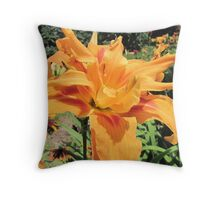 Double Lily Untouched Throw Pillow