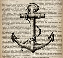 rustic nautical  captain newspaper print vintage anchor  by lfang77