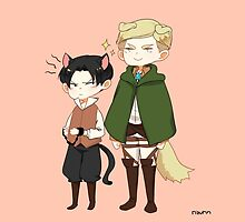 [SnK] Dogwin and Cat!Levi by rizurin