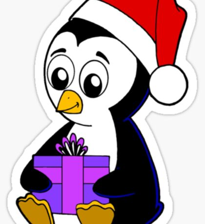 Baby Penguin with a Christmas Gift Sticker