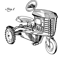 Toy Tractor Patent Drawing Photographic Print