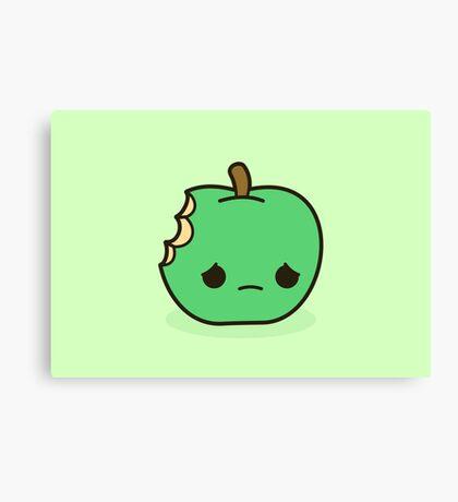 Cute sad apple Canvas Print