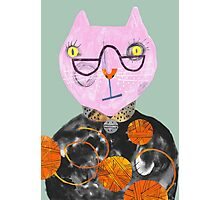 Pink Cat with Wool Overload Photographic Print