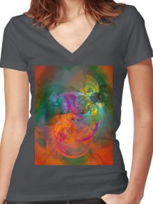 Indian Summer- colorful digital abstract art by Gordan P. Junior Women's Fitted V-Neck T-Shirt