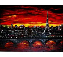 Red Sky over Paris Photographic Print