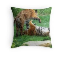 Amur Tigers- Just Cat'in Around Throw Pillow