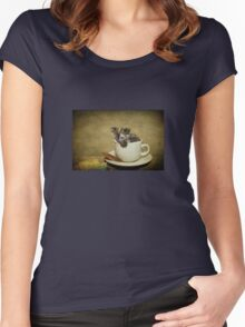 Having a 'Cat'puccino on the way to 'Cat'mando  Women's Fitted Scoop T-Shirt