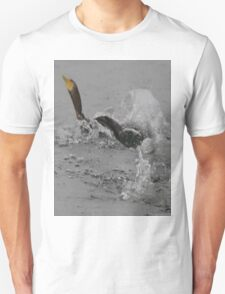 Cormorants Swimming After Diving Off Dock T-Shirt