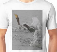 Cormorants Swimming After Diving Off Dock Unisex T-Shirt
