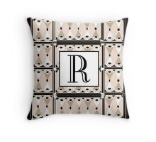 1920s Pink Champagne Gatsby Monogram letter R Throw Pillow