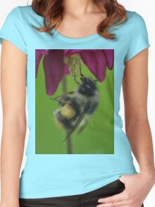 Bumble Bee With Massive Pollen Sacks On A Columbine Women's Fitted Scoop T-Shirt