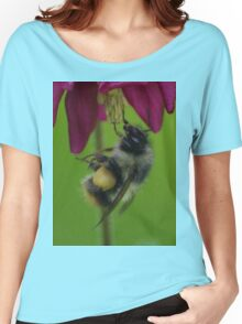 Bumble Bee With Massive Pollen Sacks On A Columbine Women's Relaxed Fit T-Shirt