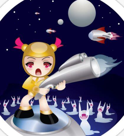RObo Chibi and The Alien BUnny Blobs Sticker