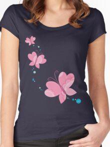 FLUTTERBY BUTTERFLY :: pink + aqua + foam Women's Fitted Scoop T-Shirt