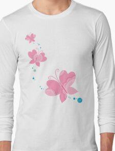 FLUTTERBY BUTTERFLY :: pink + aqua + foam Long Sleeve T-Shirt