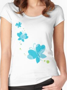FLUTTERBY BUTTERFLY :: aqua + foam + lime Women's Fitted Scoop T-Shirt