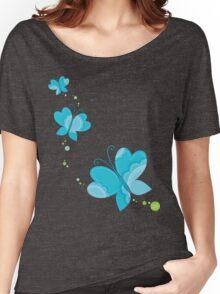 FLUTTERBY BUTTERFLY :: aqua + foam + lime Women's Relaxed Fit T-Shirt
