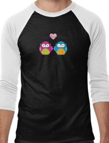 OWLS IN LOVE :: bright Men's Baseball ¾ T-Shirt