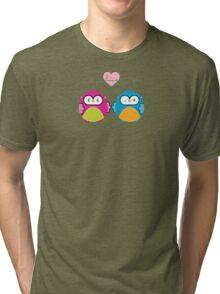 OWLS IN LOVE :: bright Tri-blend T-Shirt