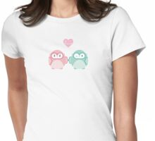 OWLS IN LOVE :: pastel Womens Fitted T-Shirt