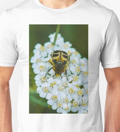 Bug on a white flower macro Unisex T-Shirt